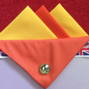 Yellow and Orange Hankie With Orange Flap and Pin
